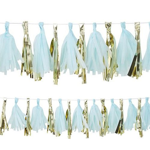 Oh Baby Tassel Garland - Blue and Gold