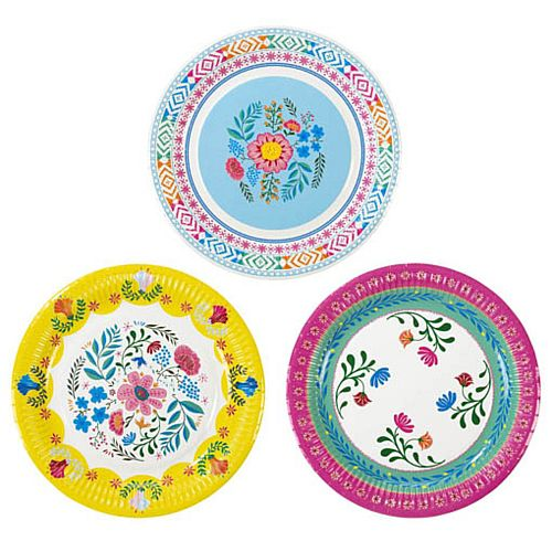 Boho Floral Plates - 23cm - Pack of 12