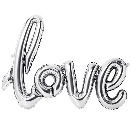 Silver 'Love' Shape Balloon - 75cm x 55cm