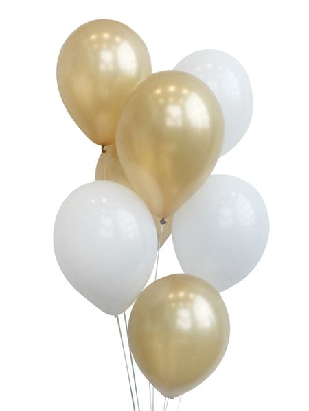 Gold And White Balloon Mix - Pack of 26