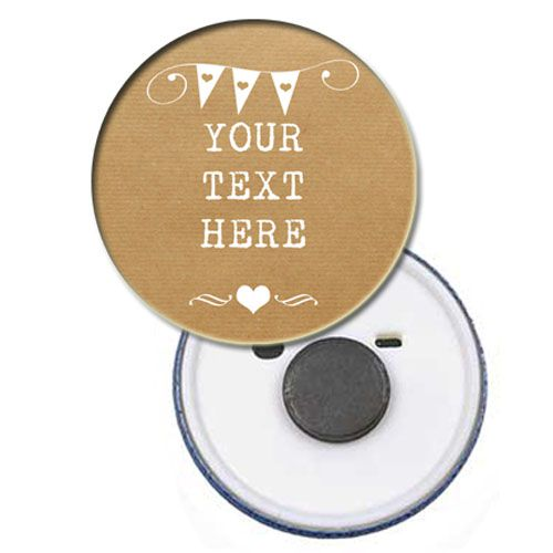 Personalised Magnet - Brown Paper Rustic - 58mm