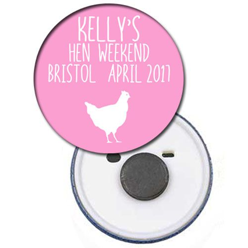 Personalised Magnet - Light Pink Hen - 58mm