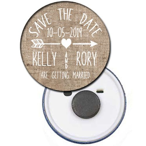 Personalised Save The Date Rustic Magnet - 58mm