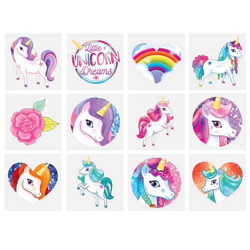Mini Unicorn Tattoos - Assorted Designs - 4cm - Pack of 12