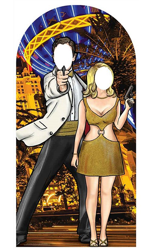 Black and Gold Secret Agent Stand-In Cardboard Cutout - 1.93m