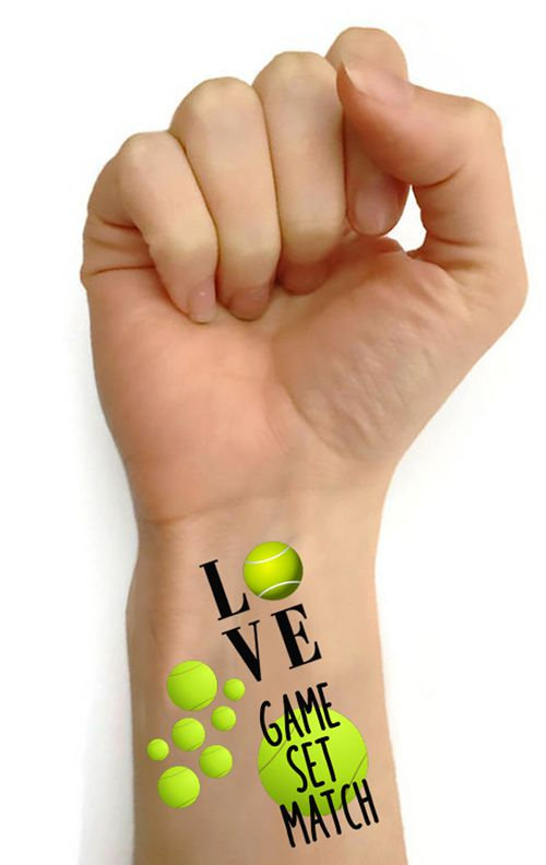 Tennis Tattoos - Various Designs - Pack Of 16
