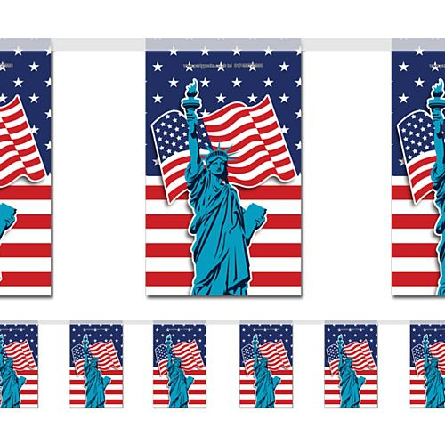 American Flag and Statue of Liberty Paper Bunting - 2.4m