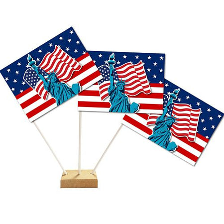 American Flag and Statue of Liberty Table Flags 15cm on 24cm Pole