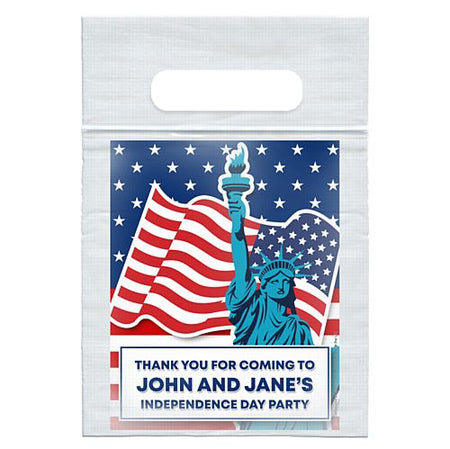 Personalised American Flag and Statue of Liberty Card Insert With Sealed Party Bag - Each