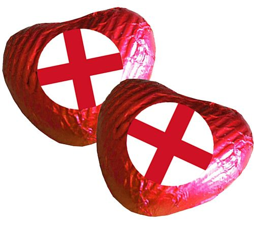 England Flag Heart Chocolates - Pack 24