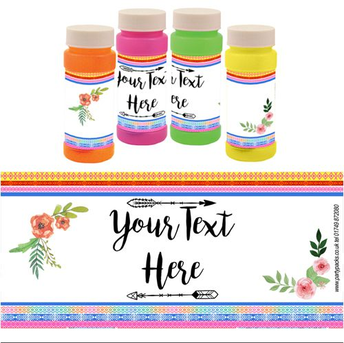 Personalised Bubbles - Boho Festival - Pack of 6