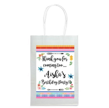 Personalised Boho Festival Paper Bags - Pack Of 4