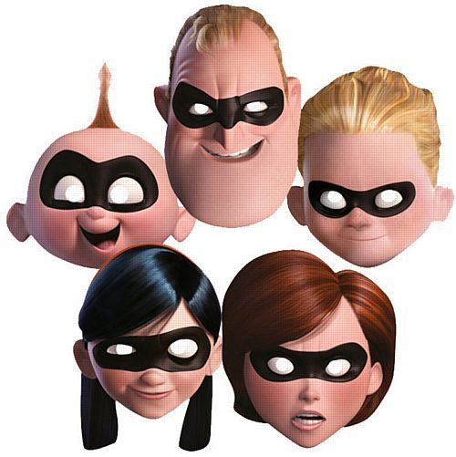 The Incredibles 2 Family Card Masks - Pack of 5