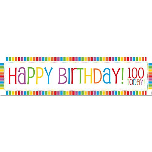 Rainbow Celebration Happy Birthday 100 Today Banner - 1.2m