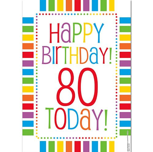 Rainbow Celebration Happy Birthday 80 Today Poster - A3