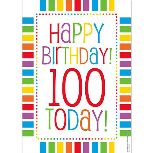 Rainbow Celebration Happy Birthday 100 Today Poster - A3