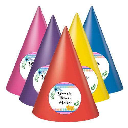 Boho Festival Personalised Cone Hats - Pack of 8