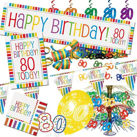 80th Rainbow Birthday Decoration Pack