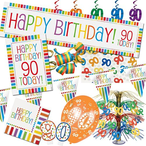 90th Rainbow Birthday Decoration Pack