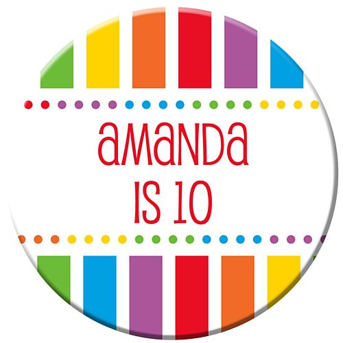 Personalised Badge 58mm - Rainbow Celebration