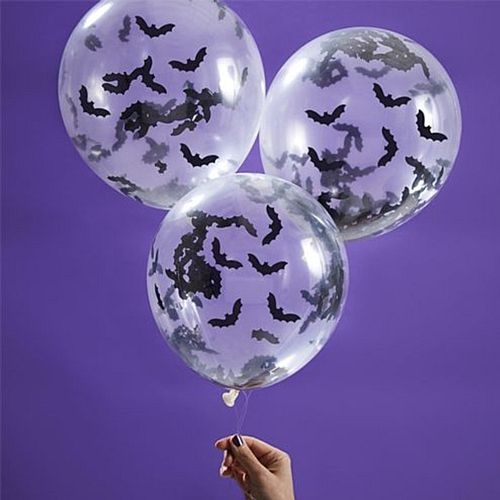 Bat Shaped Confetti Balloons - Pack of 5
