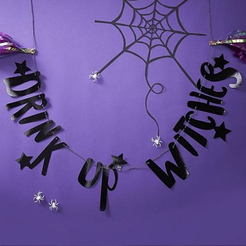 Black Foiled 'Drink Up Witches' Bunting - 2m