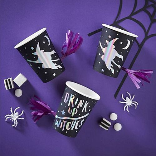 Drink Up Witches Iridescent Foil Print Tassel Cups - Pack of 8