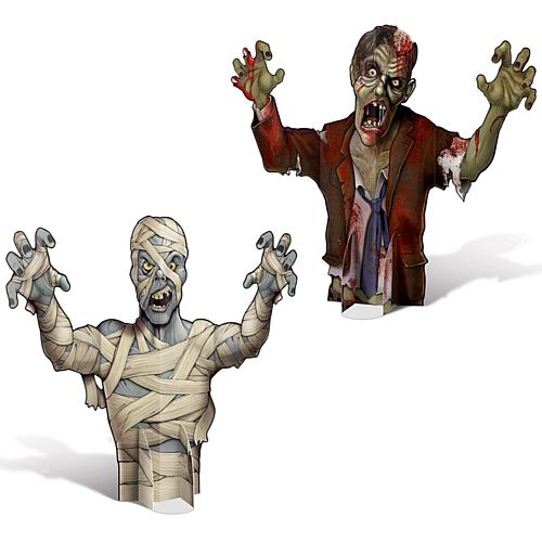 3D Mummy and Zombie Centrepieces - 46cm - Pack of 2