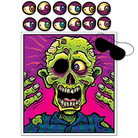 Pin The Eyeball On The Zombie Game - 48cm - Set of 14 Pieces