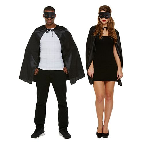 Adults' Superhero Costume Kit - Black Mask & Cape - Unisex