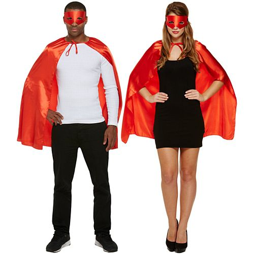 Adults' Superhero Costume Kit - Red Mask & Cape - Unisex