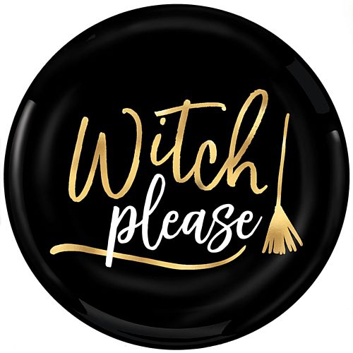 Witch Please Foil Print Plastic Plates - 19cm - Pack of 4