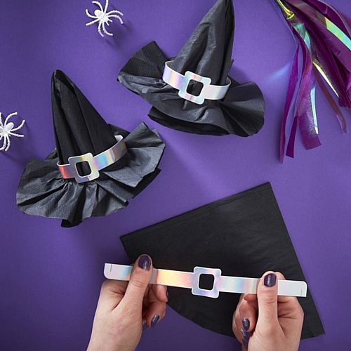 Witch Hat Paper Napkins with Iridescent Buckles - Pack of 12