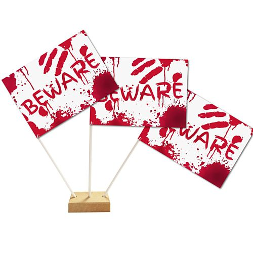 "Bloody Halloween Table Flags 6"" on 10"" Pole - Each"
