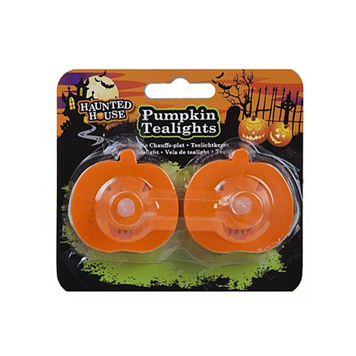 Pumpkin Shaped LED Tea Lights - Pack of 2