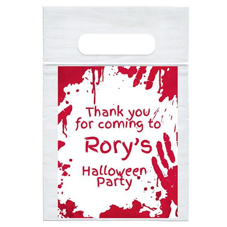 Personalised Bloody Halloween Card Insert With Sealed Party Bag Each