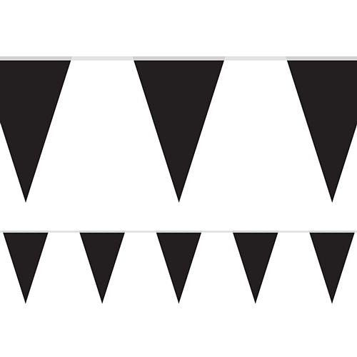 Black Fabric Pennant Bunting - 24 Flags - 8m
