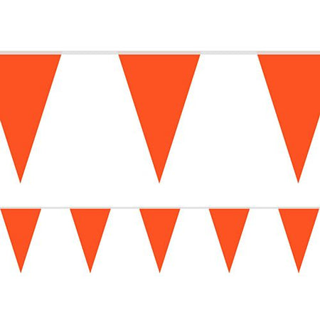 Deep Orange Fabric Pennant Bunting - 24 Flags - 8m