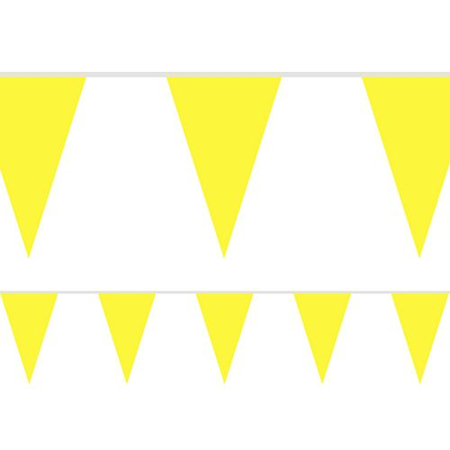 Canary Yellow Fabric Pennant Bunting - 24 Flags - 8m
