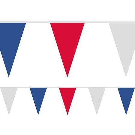 Red, White and Blue Fabric Pennant Bunting - 24 Flags - 8m