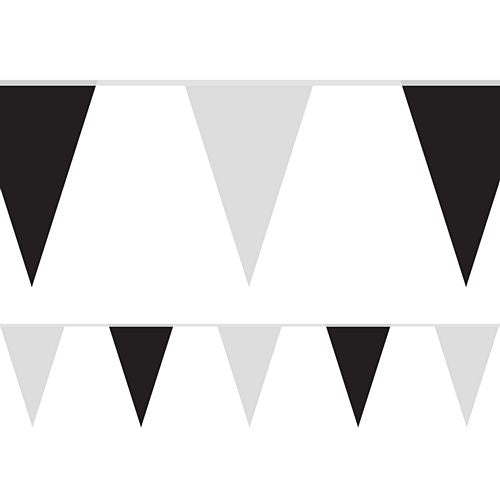 Black and White Fabric Pennant Bunting - 24 Flags - 8m