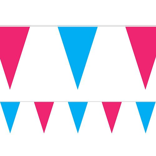 Blue and Pink Fabric Pennant Bunting - 24 Flags - 8m