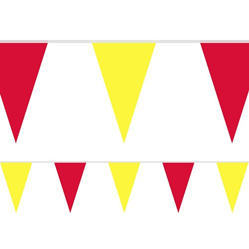 Yellow and Red Fabric Pennant Bunting - 24 Flags - 8m