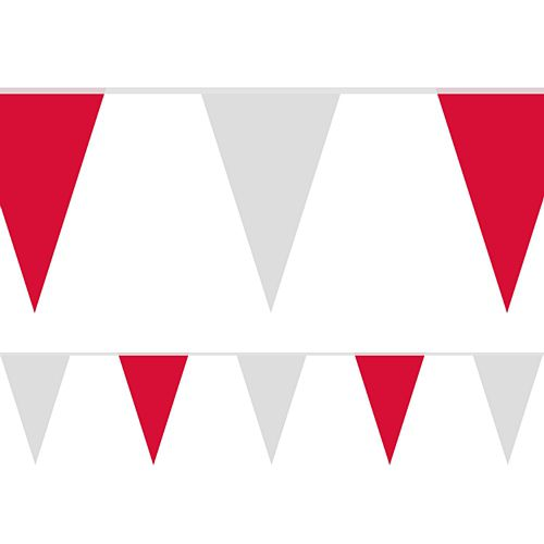 Red and White Fabric Pennant Bunting - 24 Flags - 8m