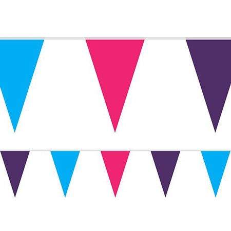 Pink, Purple and Turquoise Fabric Pennant Bunting - 24 Flags - 8m