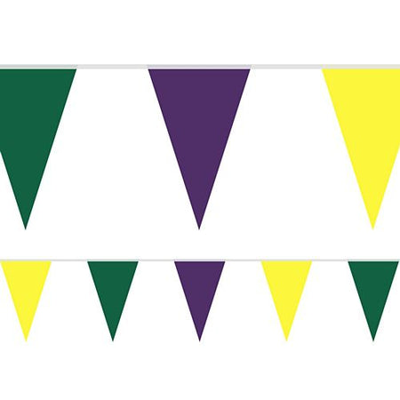 Mardi Gras Fabric Pennant Bunting - 24 Flags - 8m