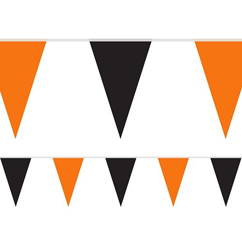 Black and Orange Halloween Fabric Pennant Bunting - 24 Flags - 8m