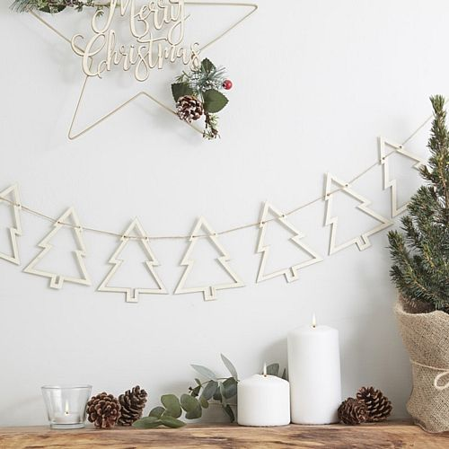 Rustic Christmas Wooden Tree Bunting - 1.5m