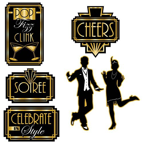 Great Gatsby 1920's Cutouts - 41cm - Pack of 6