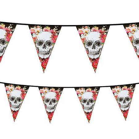 Floral Day of the Dead Plastic Bunting - 6m